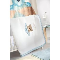 Κουβέρτα Πικέ Κούνιας Saint Clair Teddy Sky 110x150