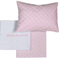 Σετ Βρεφικά Σεντόνια Κούνιας NEF-NEF 120x170 Dream & Wishes Pink
