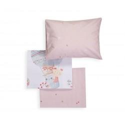Nef-Nef Σετ Σεντόνια Κούνιας Trip To The World 120x170cm White/Pink